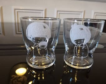Pair of 7 cm free customization - engraving kokeshi glasses