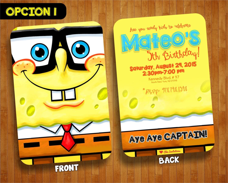 SpongeBob Birthday Party Invitation spongeBob Birthday 50