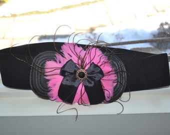 Flower cinch belt, Wide elastic stretch corset belt, Black with hot pink belt, pink feathers and Black bow ,one size wide belt