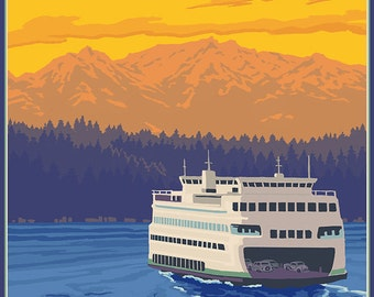 Ferry and Mountains - Whidbey Island, Washington (Art Prints available in multiple sizes)
