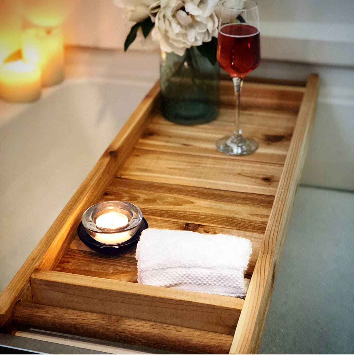 Bath Tray Bath Caddy Wooden Bathtray Bathtub Tray Bath