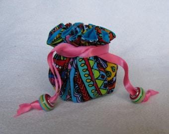 Jewelry Tote - Mini Size - Drawstring Jewelry Pouch - CELEBRATE