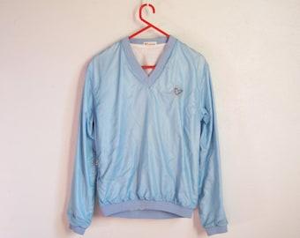 VINTAGE VELEDA Cute Shiny Light Blue No Zipper Jacket V-neck - Size M
