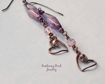 Heart Dangle Earrings in Purple and Pink, Long Glass Bead Earrings, Boho Chic Copper Jewelry