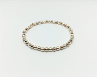 Sterling Silver and Rose Gold Filled Stretch Bracelet