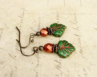 Green Earrings, Green Leaf Earrings, Copper Earrings, Copper Leaf Earrings, Copper and Green Earrings, Czech Glass Beads, Gifts for Her