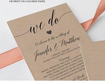 Rustic Wedding Program Template, Personalized Wedding Program, Custom Wedding Program, DIY Wedding Program Fans, Kraft, PDF Printable, C8