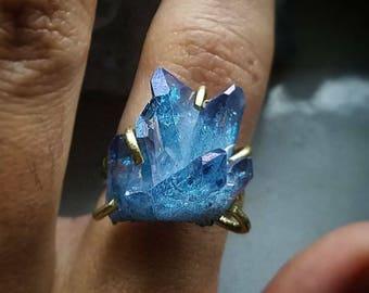 Blueberry Aura Crystal Quartz Cluster Brass Ring SIZE 6 - Gypsy Boho