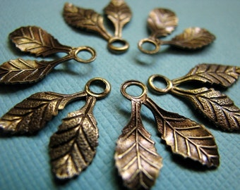 Brass double leaf drops charms 17mm (6)