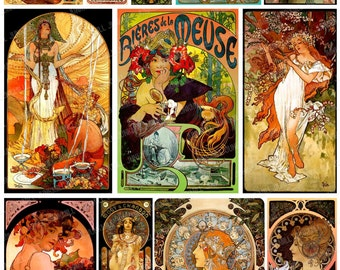 MUCHA MASTERPIECES - Digital Printable Collage Sheet - Alphonse Mucha Images, Art Nouveau Women, French Advertisments, Digital Download