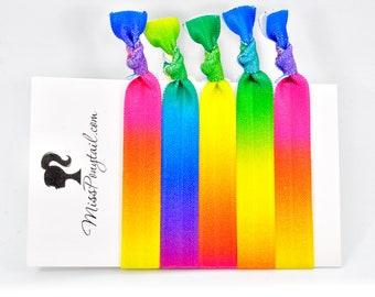 Rainbow Hair Ties, Rainbow, Gradient,  Ombre, Bulk Hair Ties, Knotted Hair Ties, Yoga Hair Ties, Handmade, Ponytail Holders, missponytail