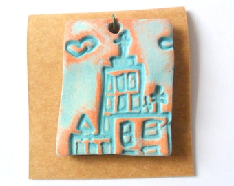 The City Pendant Finding, Distressed Turquoise Glazed Terra Cotta Kiln Fired Clay