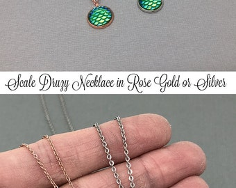 Rose Gold Necklace, Druzy Necklace, Gemstone Necklace, Mermaid Necklace, Druzy Jewelry, Silver Druzy, Daughter Gift, Druzy Pendant, Scales
