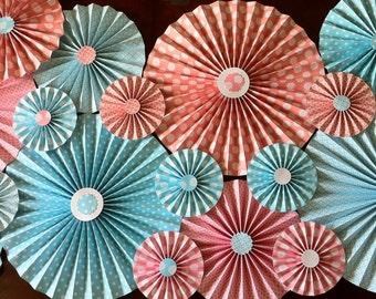 "Set of 17 Large 12"" / 9"" / 6"" DIY Paper Rosettes/Fans - Coral and Aqua"