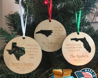 Personalized State Ornaments *** Home Ornament *** Family Gift *** Stocking Stuffer *** Personalized Gift *** Christmas Holiday Ornament ***