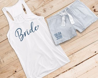 Something Blue Glittery Bride {with Heart} Flowy Tank and Striped Seersucker Boxer Set /// Bride Pajama, Bride Boxer | #1489