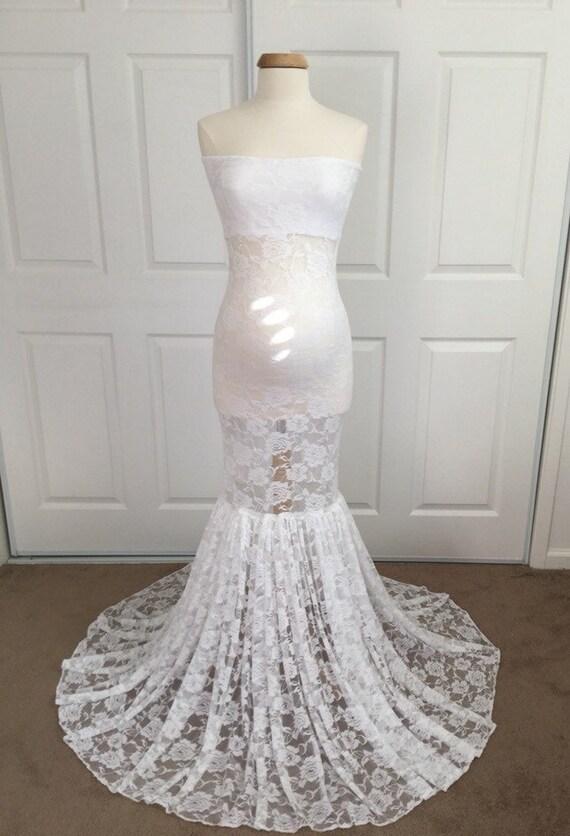 White Lace Slim Fit Maternity Dress/Mermaid Maternity