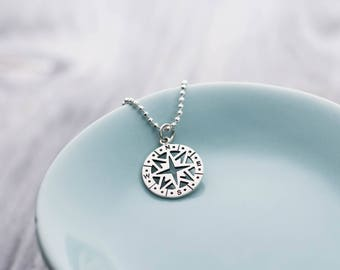 Compass Pendant Necklace, Compass Pendant Necklace Sterling Silver, Compass Necklace for Women, Silver Compass Necklace for Woman