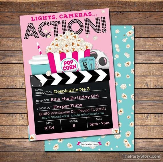 Movie invitation movie party invitation printable girls like this item stopboris Image collections