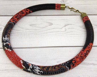 Bead Crochet necklace - Dragons on fire - Dragon Skin