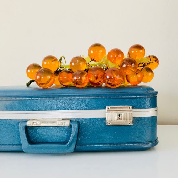 Vintage Orange Acrylic Grape Cluster Mid Century Modern Large Lucite Amber Grapes Retro Decor