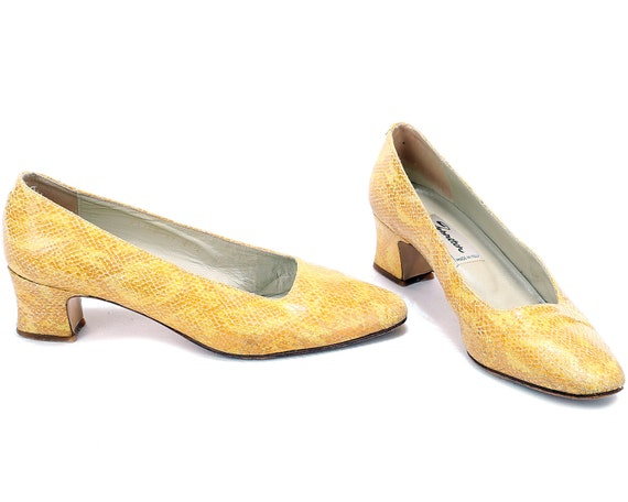 8 Quality 80s Patterned Snakeskin UK Midi Vintage Yellow 39 Pumps Pumps 5 Shoes For Heels EUR Her 6 Leather Retro US Italian Heel Gift women 5AZqff