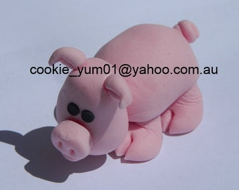 1 edible PIG 3d LARGE cake decoration TOPPER farm barnyard animal gumpaste sugarcraft