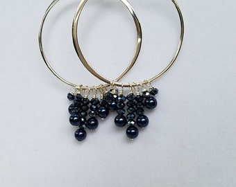 "Midnight Blue Pearl & Crystal Wire Wrapped Sterling Hoop Earrings 2 1/2"" (Matches Necklace)"