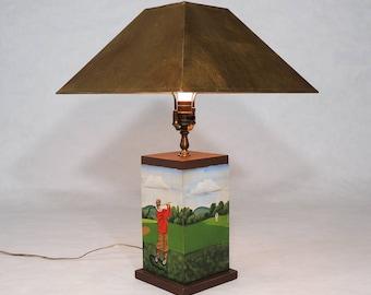 Golf lamp etsy original vintage golf art painting signed table lamp aloadofball Choice Image