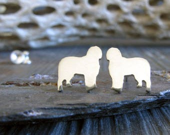 Old English Sheepdog post earrings. Tiny dog studs silhouette jewelry. Sterling silver, 14k gold filled or solid yellow gold Rescue Dog gift