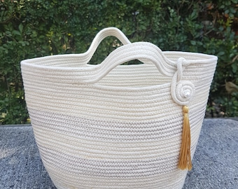 Coiled Cotton Rope Tote, egbhouse, 180212  Listed for charity