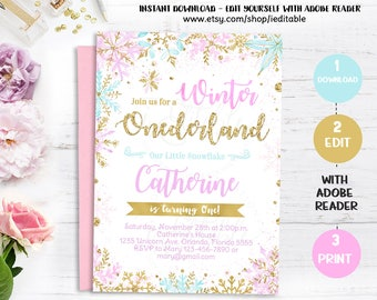 Winter Onederland Birthday Invitation, Pink and Gold Snowflake, Girl 1st Birthday invite, Instant download, Editable Template Invitations