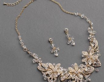 Gold Jewelry Set, Flower Jewelry Set, Crystal & Rhinestone Jewelry Set, Gold Wedding Accessories, Bridal Jewelry Set,Floral Jewelry ~JS-1671