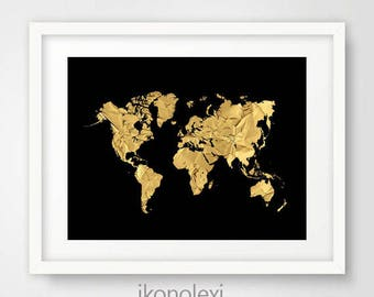 Chic Gold World Map, Black World Map, World Map Poster, Gold Map World