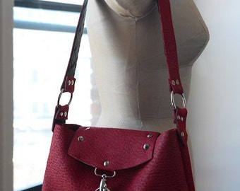 Textured Red Leather Shoulder Bag with Studs