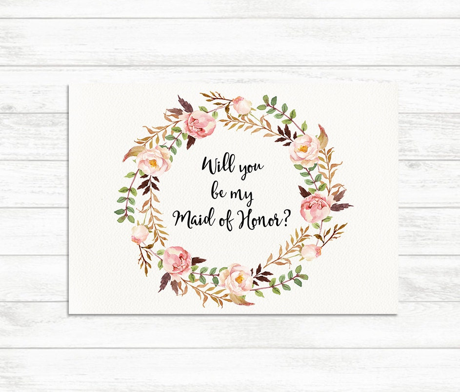 Will you be my maid of honor floral printable maid of honor zoom pronofoot35fo Image collections