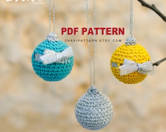 CROCHET PATTERN Christmas balls #19, Step by step instructions with clear detailed description and exellent images