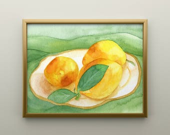 Lemons on a Plate Watercolor Print
