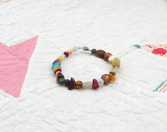 Colorful Stone Gemstone Bracelet Bohemian Jewelry, 7 3/4, Stone Bracelet, Boho Bracelet, Beaded Bracelet, Tribal Bead Bracelet, Ethnic