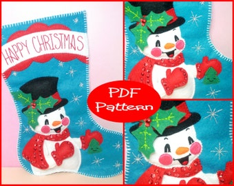 PDF Pattern - Felt Snowman, Christmas Stocking Pattern, Christmas Decoration, Sewing Pattern, Felt Pattern, Snowman Pattern, Christmas Gift,