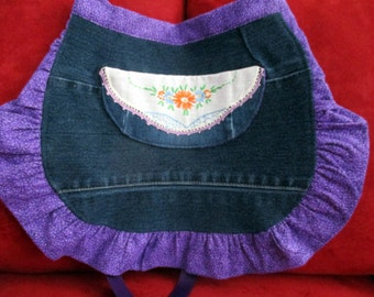 Girl's Apron made from Upcycled Denim- Valentine's Day