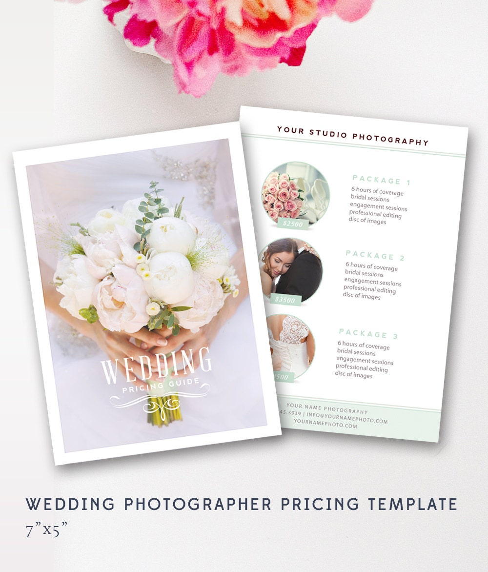 Wedding Pricing Template Photography Guide Price