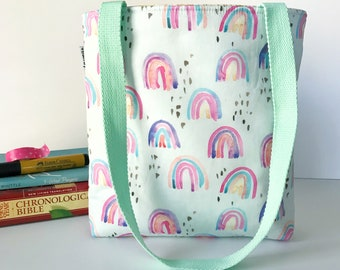 whimsical rainbow bible bag