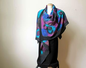hand painted silk poncho scarf
