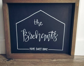 Home sweet home modern Rustic, farmhouse wooden, family sign