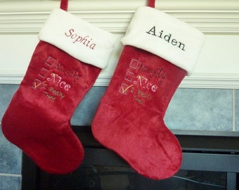 """Closeout. Personalized Embroidered """"I Really Tried"""" 19"""" Plush Christmas Stocking"""