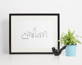 Printable Skyline Wall Decor - Indianapolis - Wall Decor - 8x10
