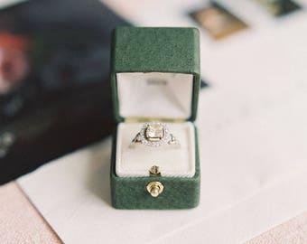 Ring Box Genuine Leather Monogrammed Velvet Ring Box Vintage Style - CHARLOTTE- Handmade Vintage Antique Engagement Wedding Proposals Temple