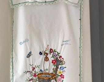 Tea towel hand embroidered