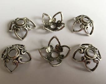 set 6 large silver metal caps